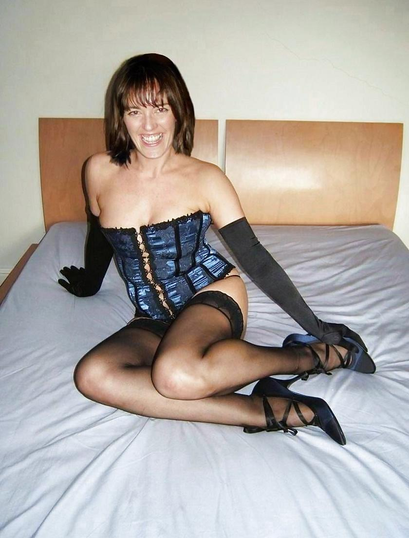 Wife posing in stockings