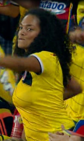 Busty Columbian milf dancing at World Cup 14 game