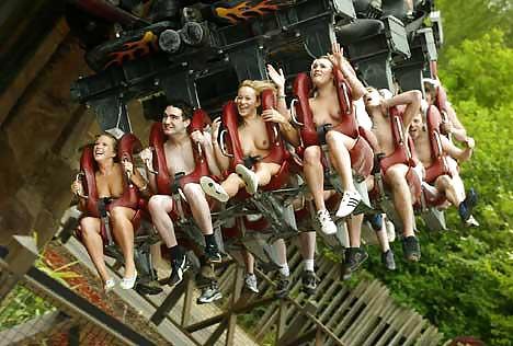 Nudist on roller coaster