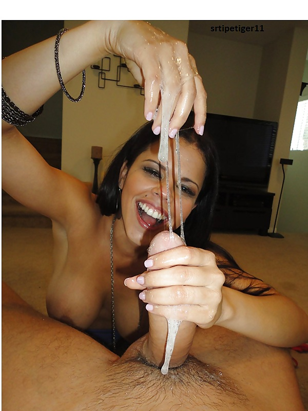 Girls play with cum