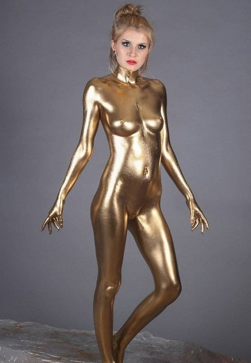 Gold body paint nude and nude body paint gold girl photos