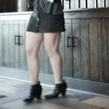 Candid mini skirt and sexy legs