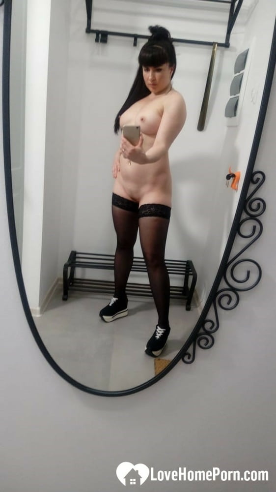 Checking myself out in tight black stockings