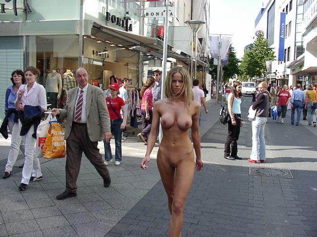 Nude woman walking down the street, pretty plump girl fucked