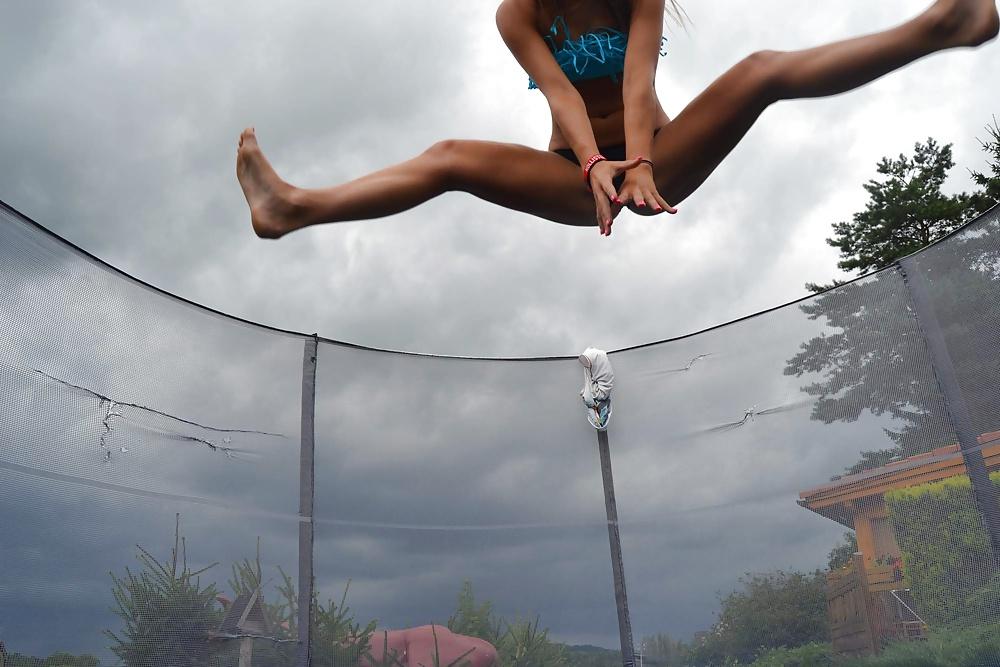 Fucking topless girls on trampoline fuck