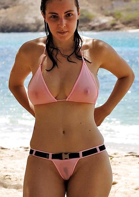 Mature in sheer bikini
