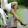 Stockings and Heels Tease in the Park