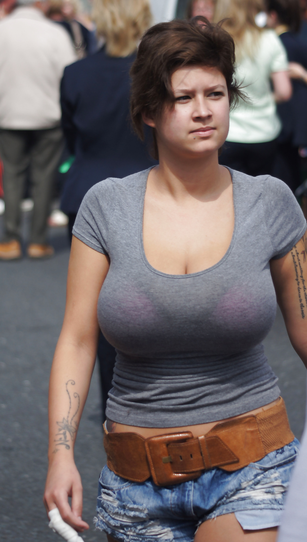 Candid boob sightings, threesome cumshot face gif