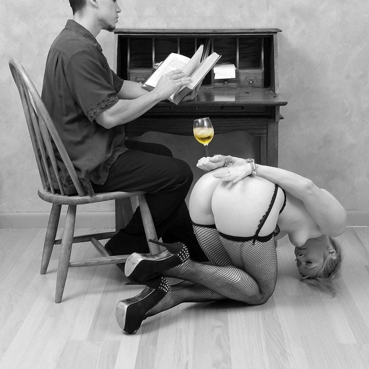 Naked slave tied table