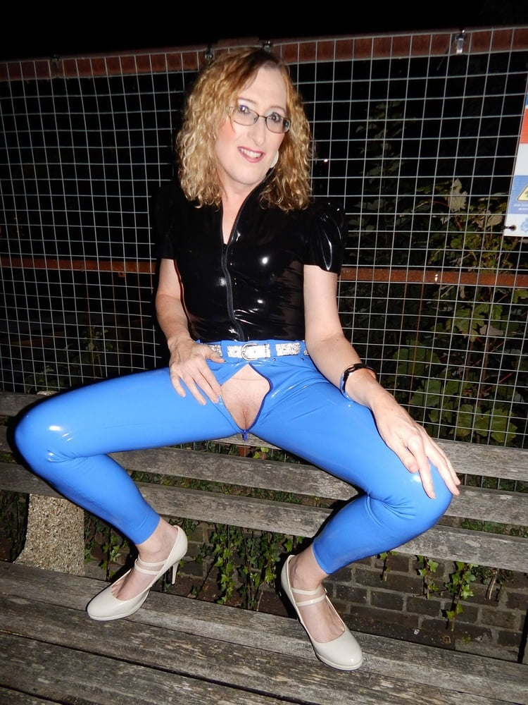 Public Flashing in Blue Latex Jeans and Black Latex Top - 11 Pics