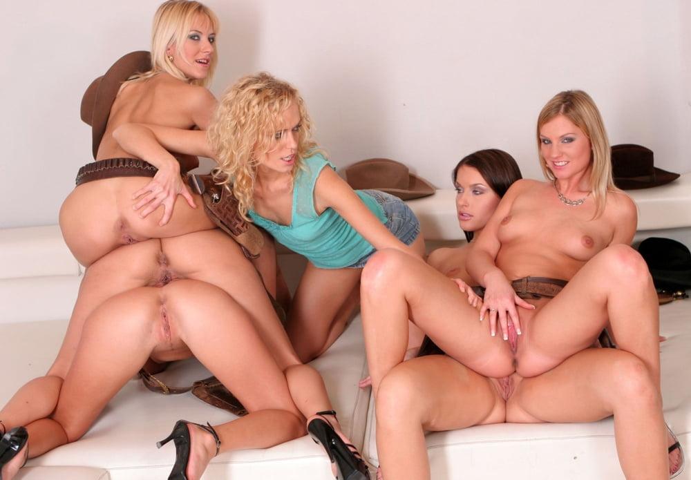 Jessa rhodes and kayla carrera in a wild milf lesbian orgy scene