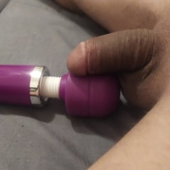 Vibrating And Teasing Little Black Dick Shemale