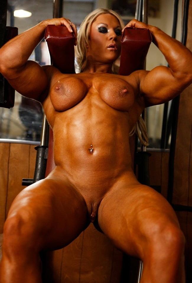 Nude female bodybuilder close up