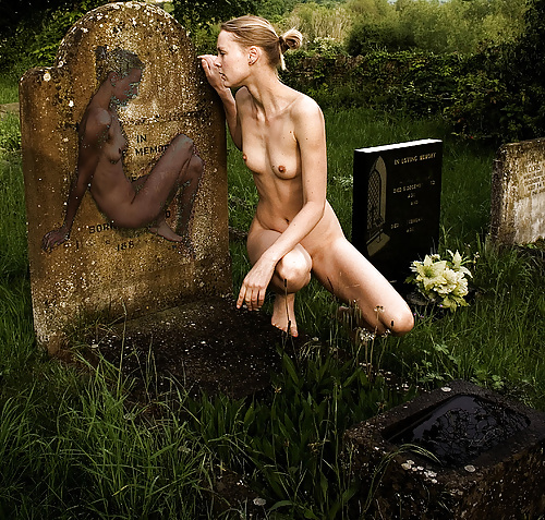 Naked girl in a graveyard 1