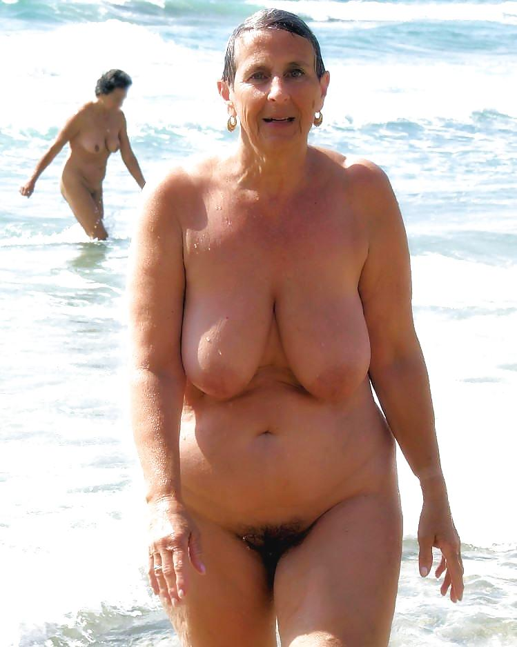 Big boobs granny naked beach — pic 13