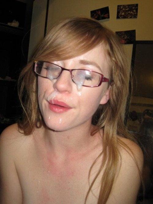 Cum on nerdy chick face #14
