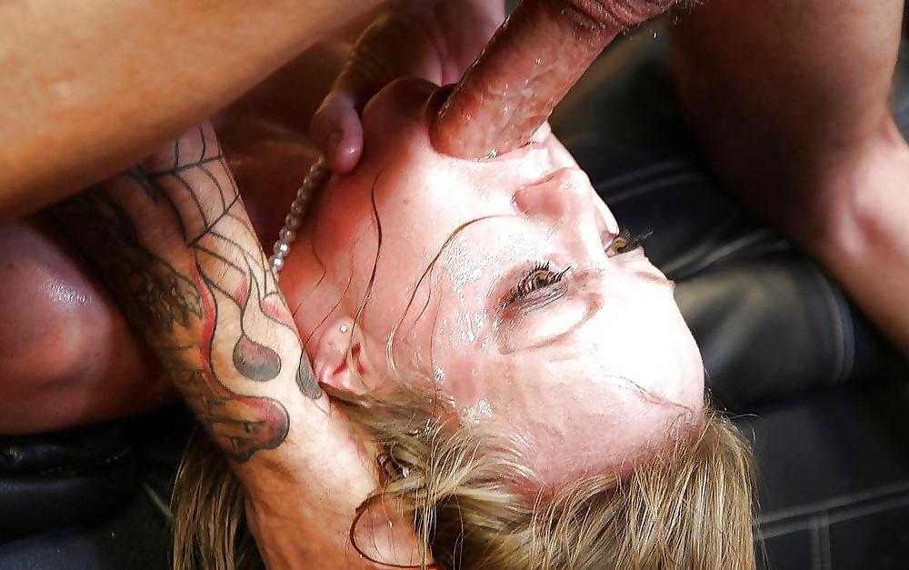 Slut choking on cum