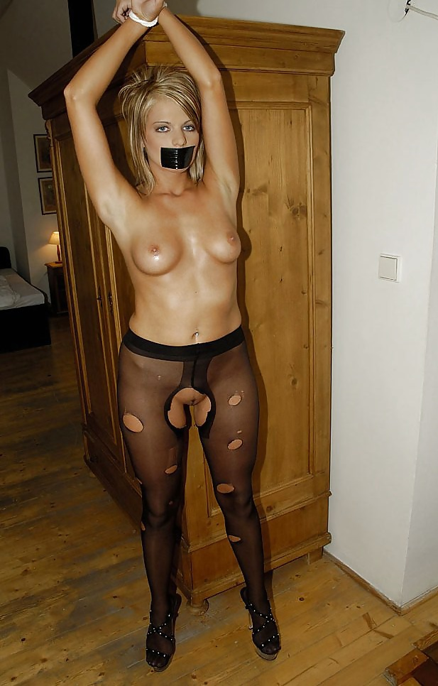 Naked nude woman tied up standing #10