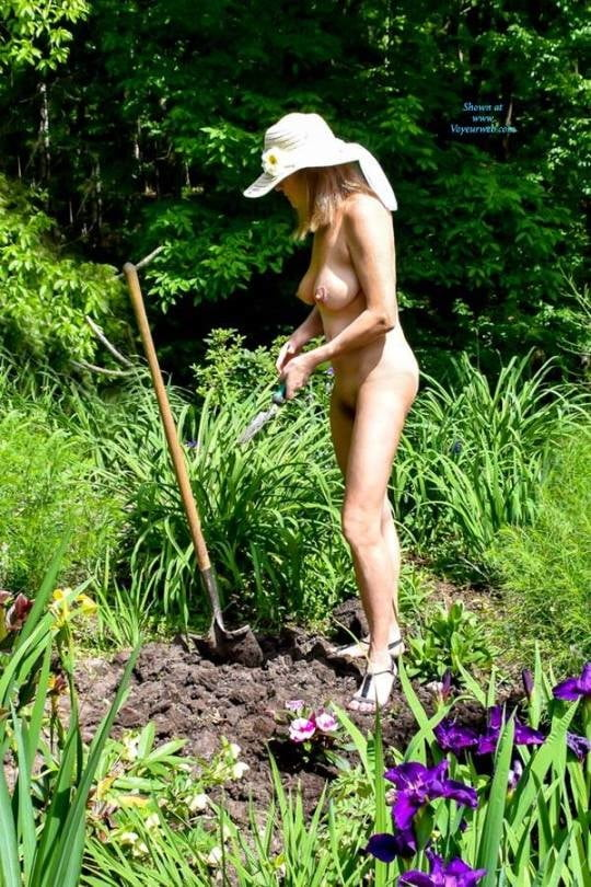 Older Naked Lady Garden