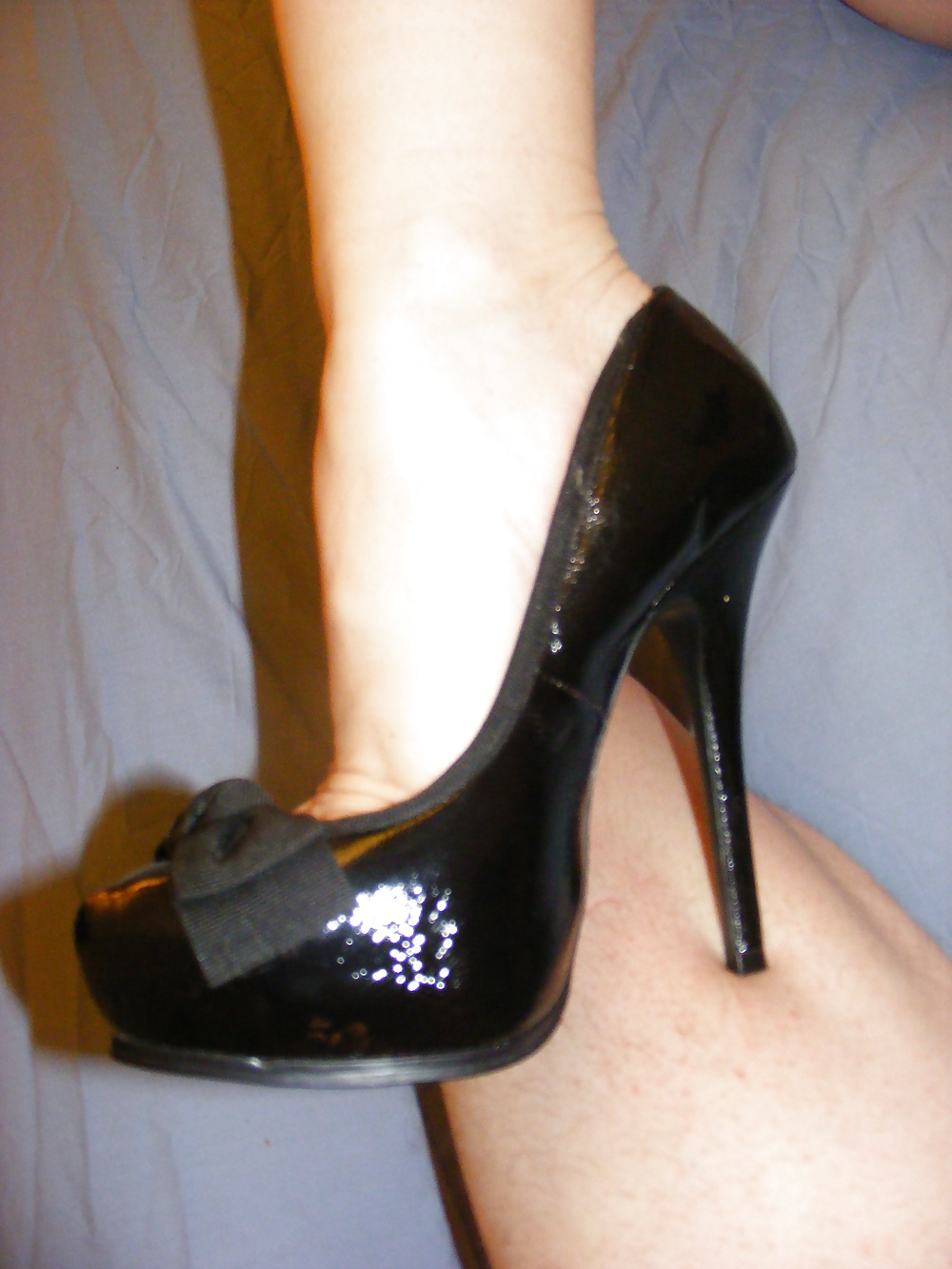 Wife wearing heels and lingerie