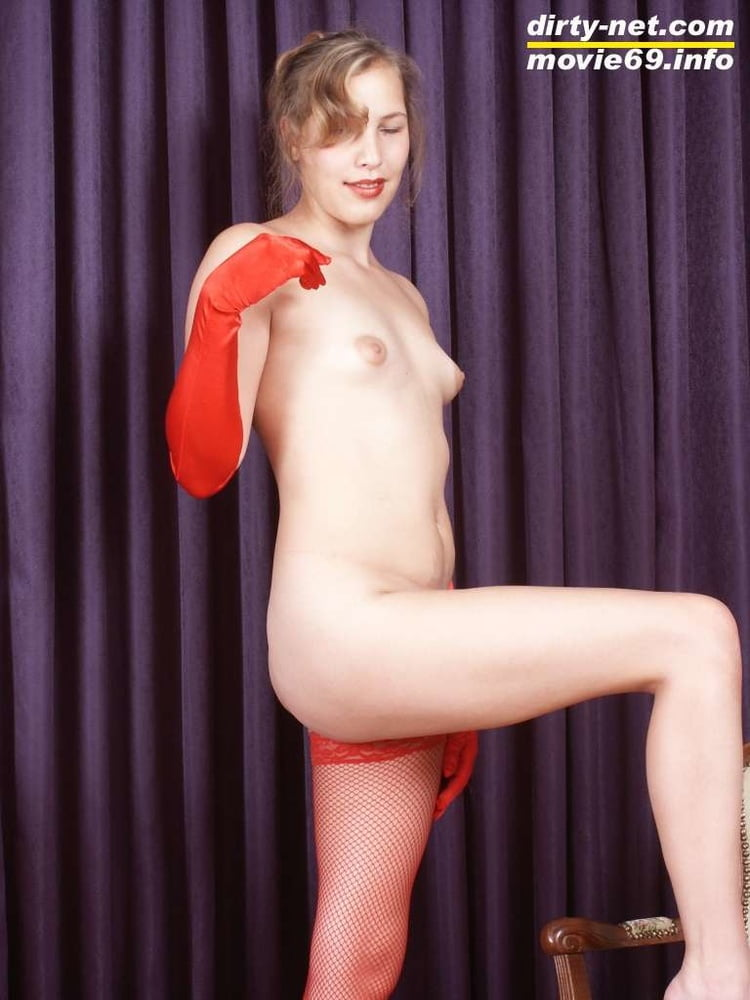 Teen Nathalie poses in red stockings and arm-length gloves - 32 Pics