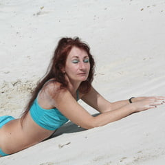 On White Sand In Turquos Bikini