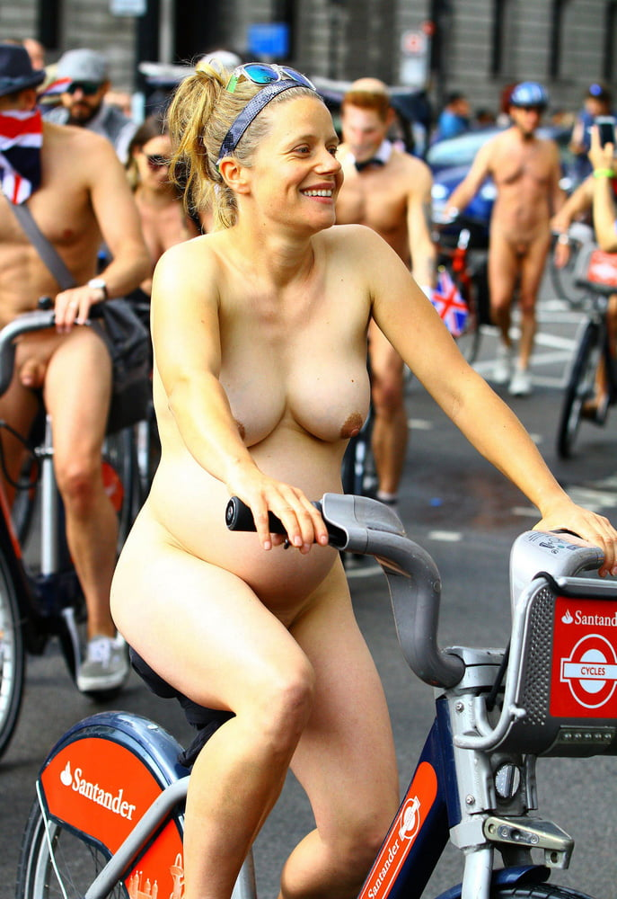 Remarkable, the very pregnant nude on bike