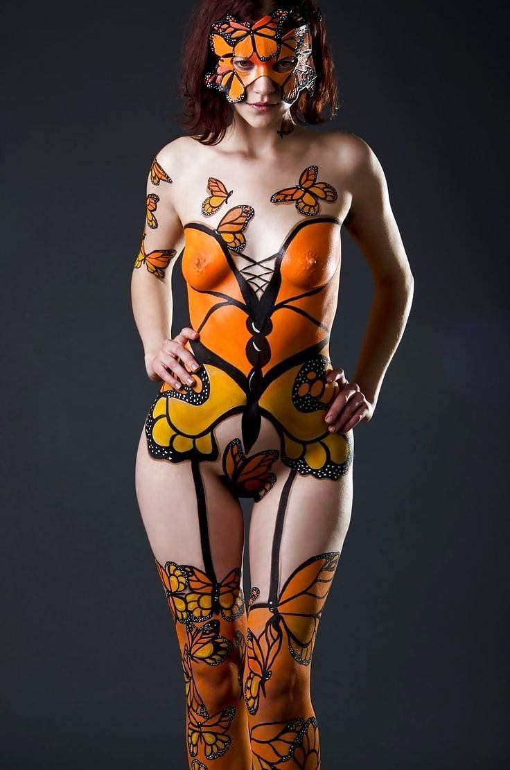 Graceful nude young girl black body stock photo