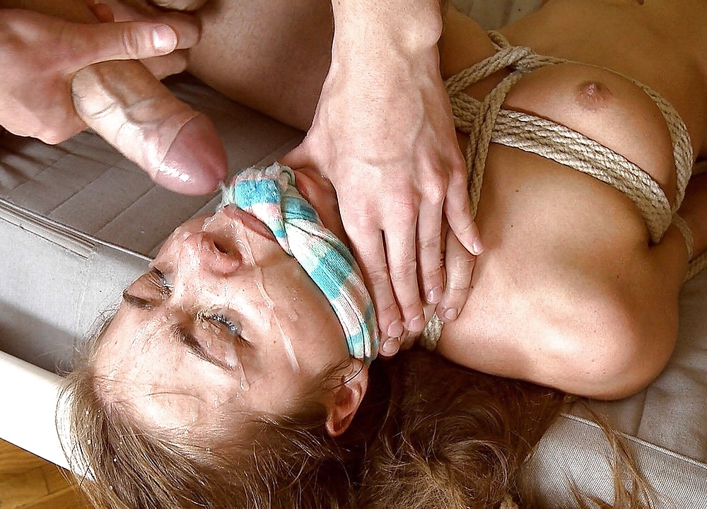 Women tied cum on face