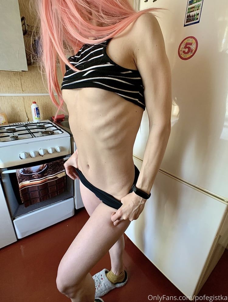 Fucked herself in the kitchen