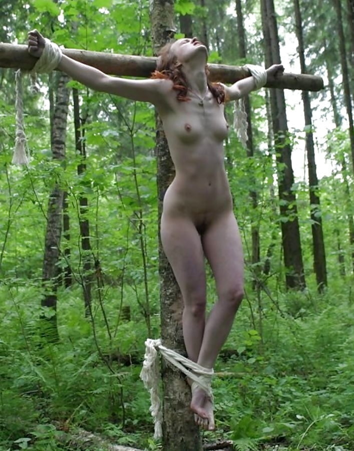Girls crucified naked whipped