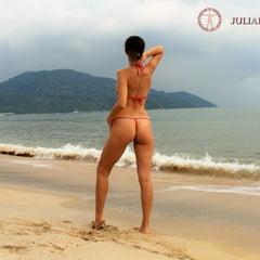Julia V Earth In Red Bikini At The Beach