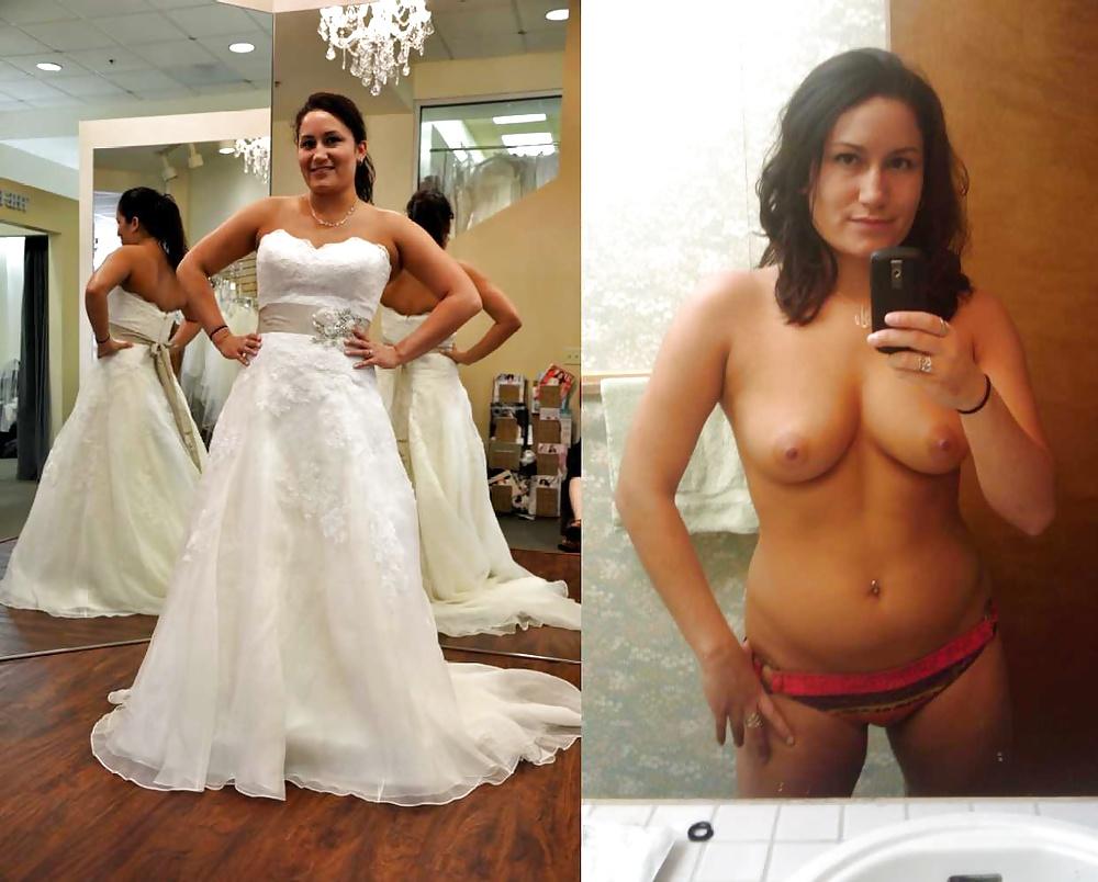 Tone bride getting undressed