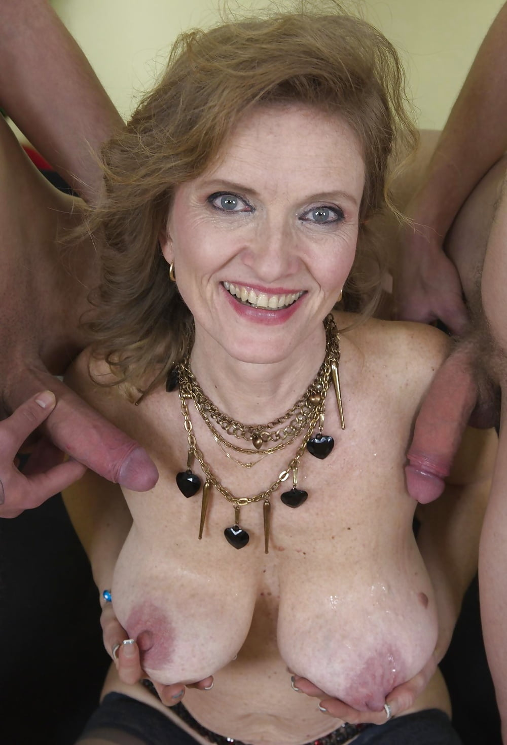 Busty mature granny rosemary gets a whacking big cum shot on their way tits