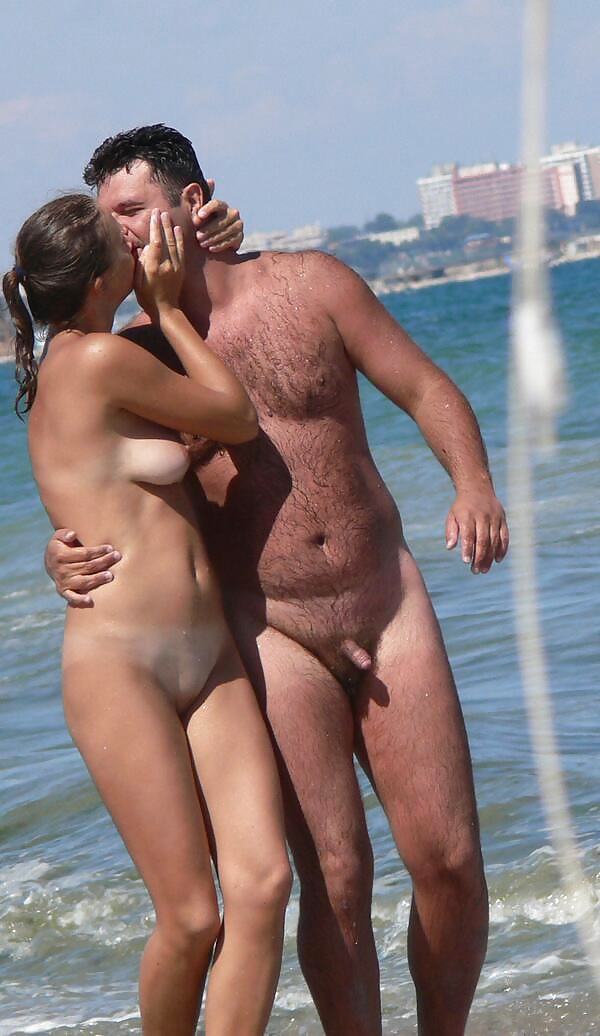 Nudist couples at beach