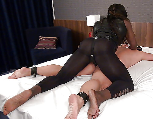 Harsh femdom babes roughly pegging dude