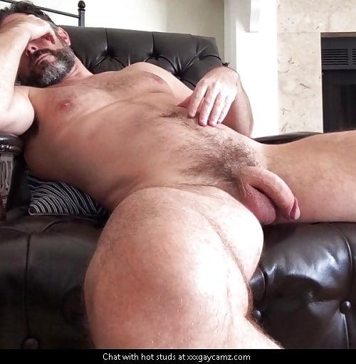 Hairy man with stiff big cock