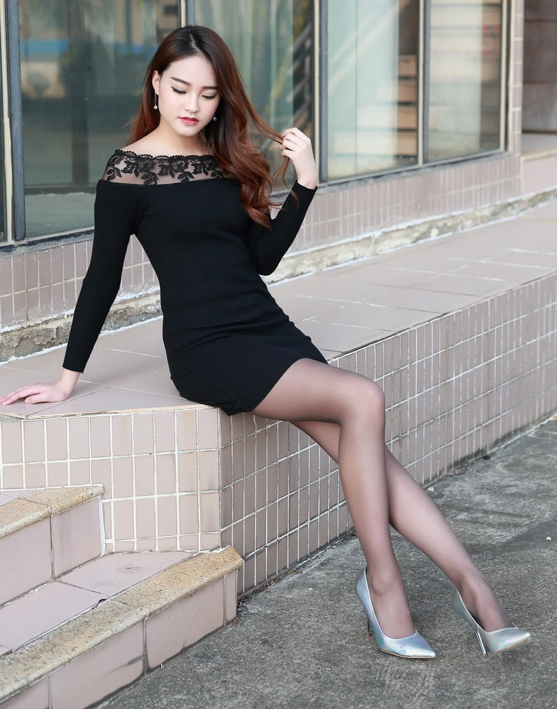 Asian in black pantyhose