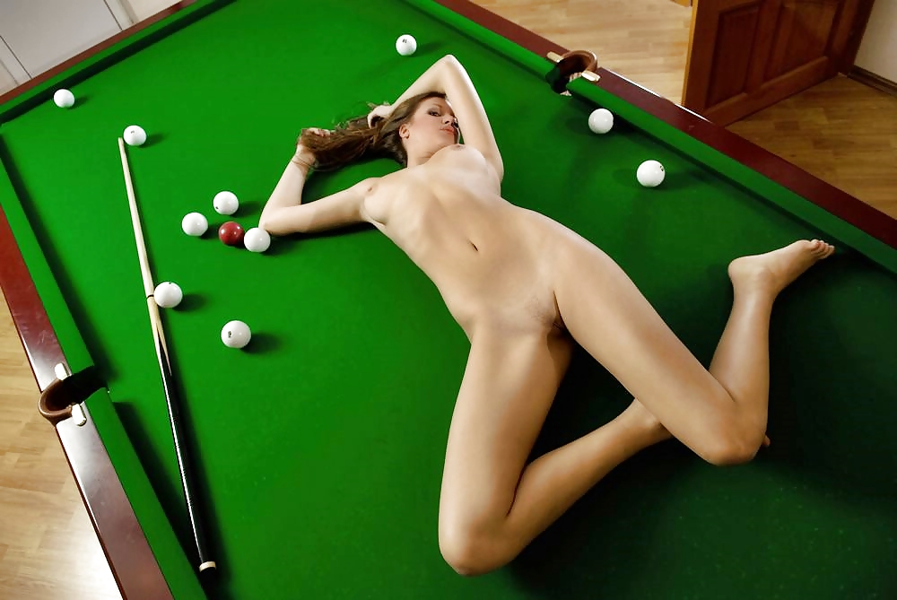 Wife Playing Pool Topless