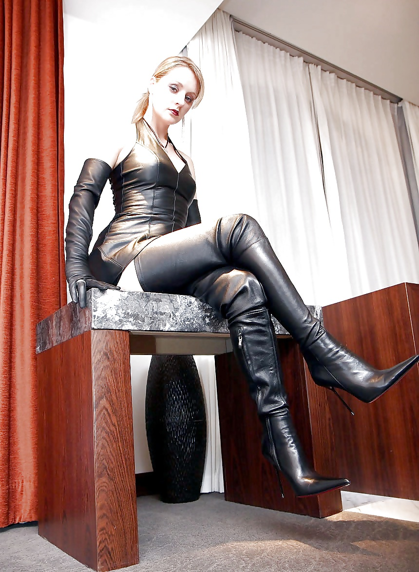 Sexy kinky fetish leather look heels thigh high over the knee stretch boots size