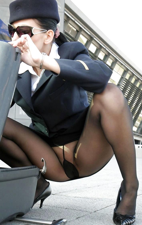Стюардесса в колготках порно фото, голая на танцах