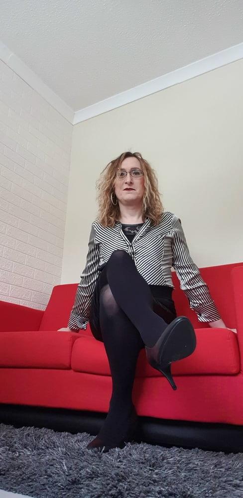 Satin Secretary in Opaque Holdups Essex Girl Lisa - 12 Pics