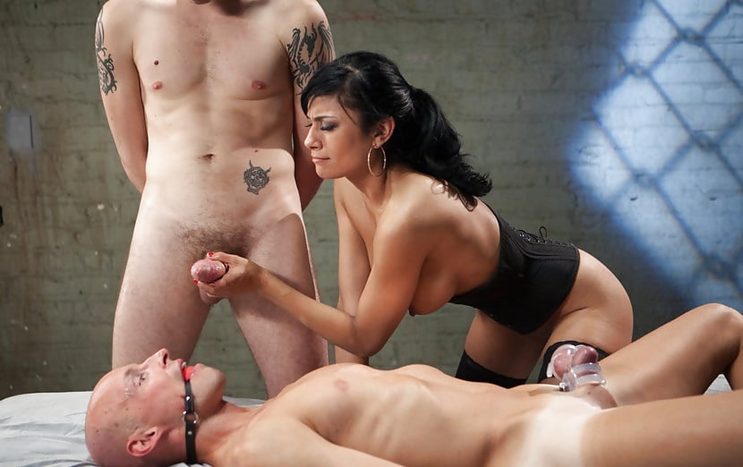 Big tits brunette slave beauty ride huge dick in threesome bdsm training