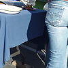 Nice round bubbly butt & ass in tight blue jeans