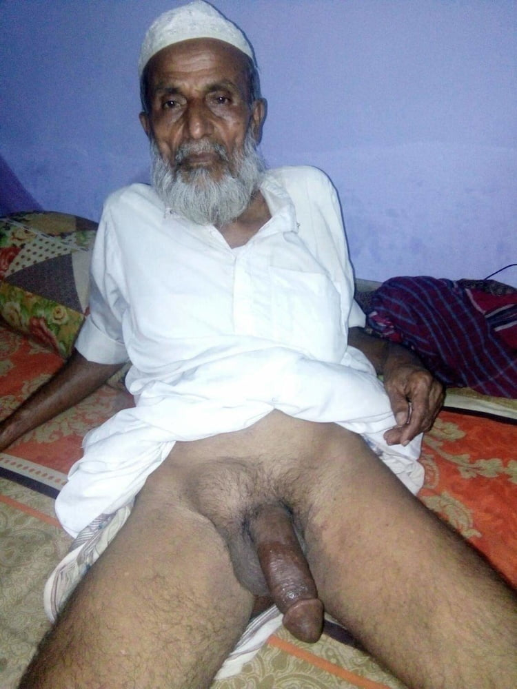 Old Indian Man Bathing Naked