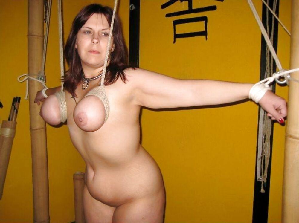 Full figured women in boob bondage