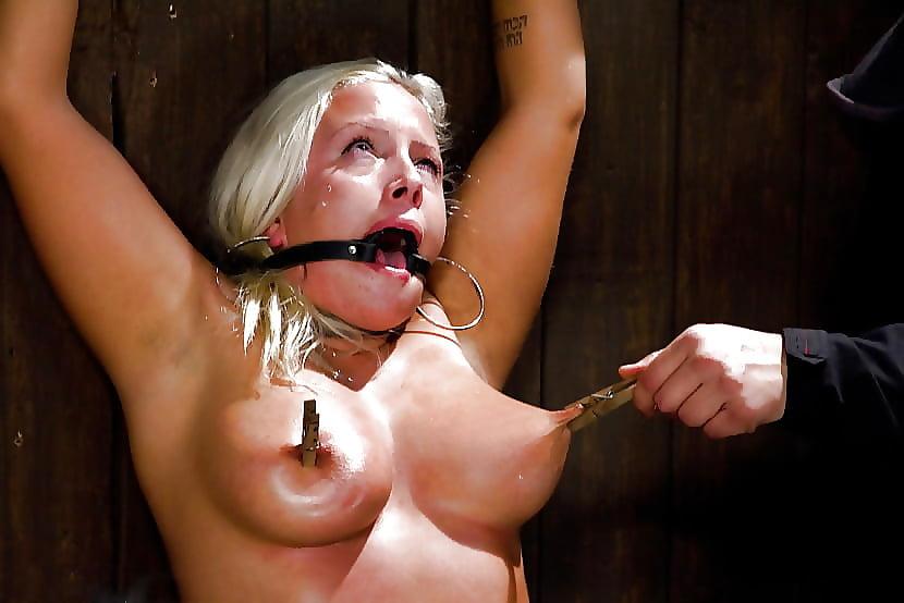 Pierced nipple bondage torture