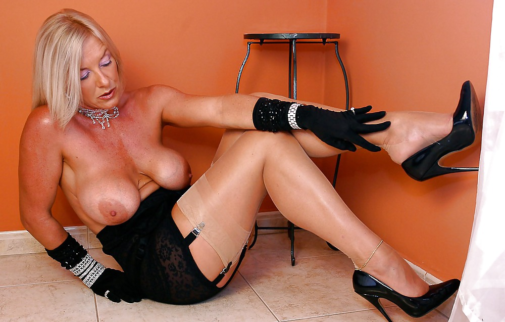 Hot milf stocking tits #4