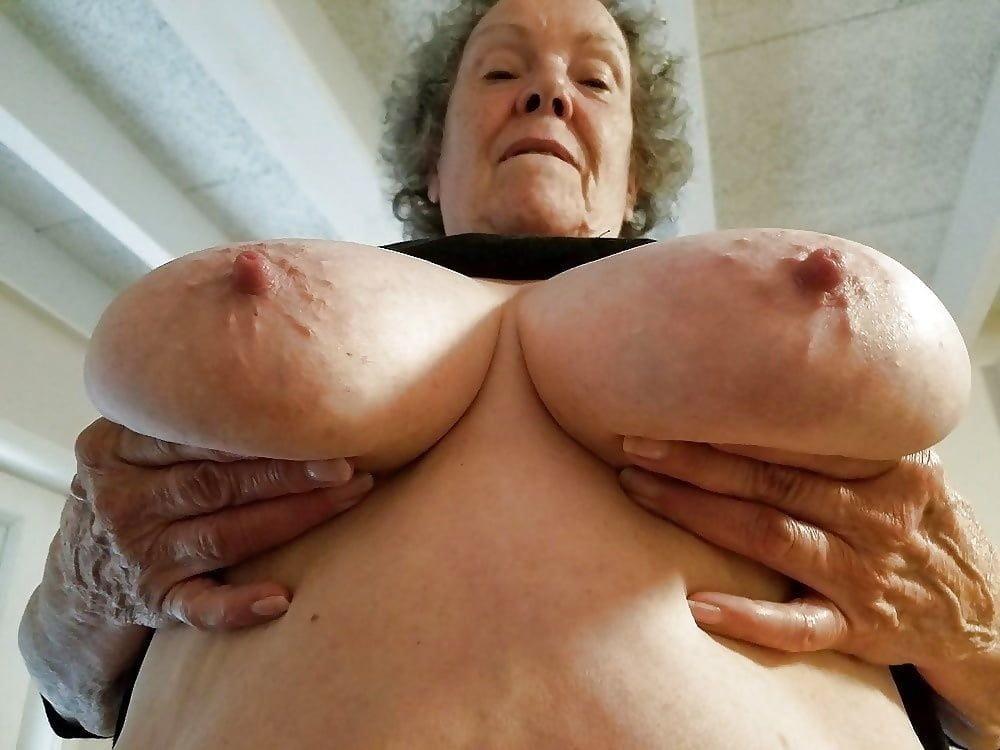 Natural tits old mom