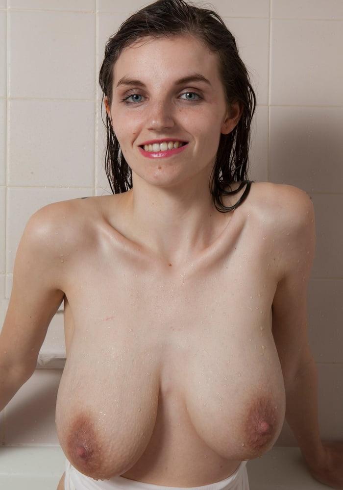 Slim busty wet titties in shower